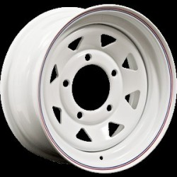 16'' x 7White 8 Spoke Steel Wheel Part BA015AS
