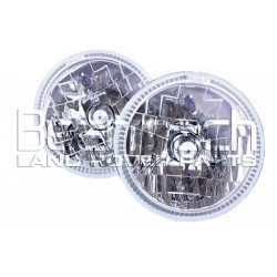 "LAND ROVER DEFENDER LED HALO LIGHT SET (PAIR) CRYSTAL H4 7"" BA070HC"