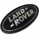 Land Rover logo rear body oval badge black on silver genuine part DAH500330