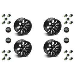 Buy Set of Four (4) - 16'' Black Sawtooth Alloy Wheel Part LR025862 With Lugs & Caps