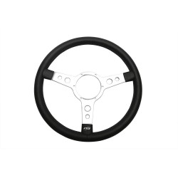 15in Leather Steering Wheel With 3 Silver Spokes Part BA151C