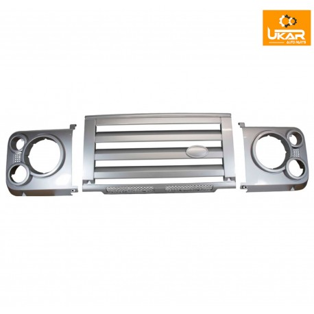 Buy Land Rover Defender 90 silver SVX style front grille & headlamp surround kit