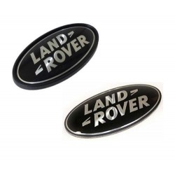 LAND ROVER OVAL BADGES BLACK ON SILVER GENUINE PARTS DAG500160 AND DAH500330