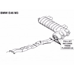 Buy BMW E46 / M3 & Z4M exhaust flange repair - rusted corroded broken 4 flange kit