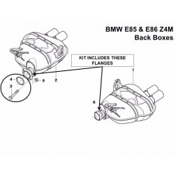 Buy BMW E46 / M3 & Z4M exhaust flange repair kit - rusted, corroded, broken 2 flanges