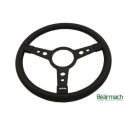 15in Leather Steering Wheel With 3 Black Spokes Part BA151